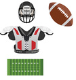 American football helmet ball field and armour vector image