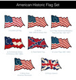 american historic waving flag set vector image