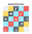 badminton icons vector image
