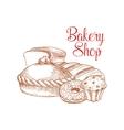 Bakery shop bread sketch poster vector image vector image