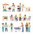 barbecue people flat style design icon set vector image
