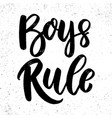 boys rule lettering phrase on grunge background vector image