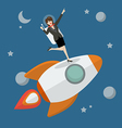Business woman astronaut standing on a rocket vector image vector image