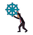 businessman holding gear blue lines vector image vector image