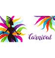 carnival party banner with samba dancer and vector image vector image