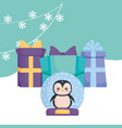 christmas penguin design vector image