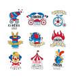 circus logo design set bright colorful emblems vector image vector image