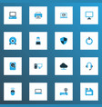 computer icons colored set with online cloud vector image vector image