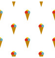 cone with scoops of ice cream pattern seamless vector image vector image