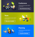 conference team and planning banners isometric vector image