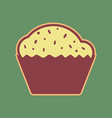 cupcake sign cordovan icon and mellow vector image vector image