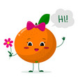 cute orange cartoon character with a pink bow vector image