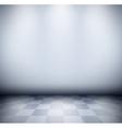 Dark misty room with checkered floor vector image vector image