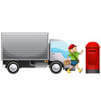 Delivery man and truck vector image vector image