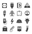 Electricity black and white isolated icons set