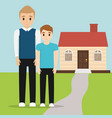 father and son together with home vector image