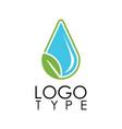 green drop water logo vector image vector image