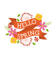 hello spring floral ladybug flower decoration vector image