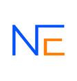 initial ne letter logo template design vector image