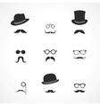 Interface elements mustaches hats and glasses vector image vector image
