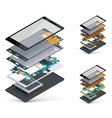 isometric smartphone cutaway vector image vector image