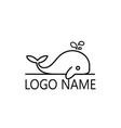 line art little bawhale logo design vector image