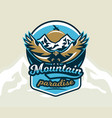 logo emblem of an eagle flying mountains rocks vector image vector image