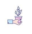 man hand with natural plant with leaves vector image vector image