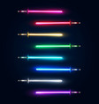 neon light swords set colorful glowing sabers vector image vector image