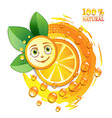 Orange slices with leafs and a smiley face vector image vector image