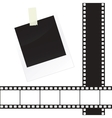 Photo frame sticker with tape and film strip frame vector image vector image