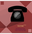 Retro telephone Flat modern web button on a flat vector image