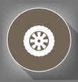 road tire sign white icon on brown circle vector image vector image