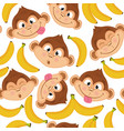 seamless pattern with monkey face vector image vector image