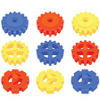 Set of colored cogs vector image vector image