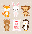set with cute animals in cartoon style vector image vector image