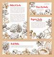 sketch posters of nuts and fruit seeds vector image vector image