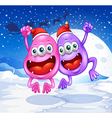 Two monsters celebrating christmas vector image vector image