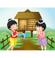 Two thai girls on water festival day vector image