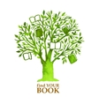 Watercolor green tree with hunging books vector image