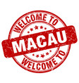 welcome to macau red round vintage stamp vector image vector image