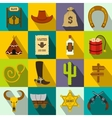 Wild west cowboy flat icons vector image