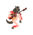 wolf playing electric guitar cartoon animal vector image vector image