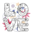word love painted on vintage flowers vector image vector image