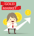 businessman is happy strategy gold marketing vector image