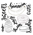 hand drawn sweets doodle set sketches sweets - vector image
