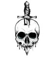 a knife through a skull simple skull face series vector image vector image