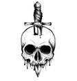 a knife through a skull simple skull face series vector image