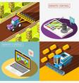 agricultural robots 2x2 design concept vector image vector image