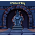 Ancient stone statue of king in the dungeon vector image vector image